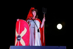 From Paul Burgman/NewsMediaImages.com 8 July 2009. Helen Barker a Medical Secretary from Chester.  On the Fourth Plinth dressed as Britannia. 0100-0200hrs  Paul Burgman 075 88 66 9580