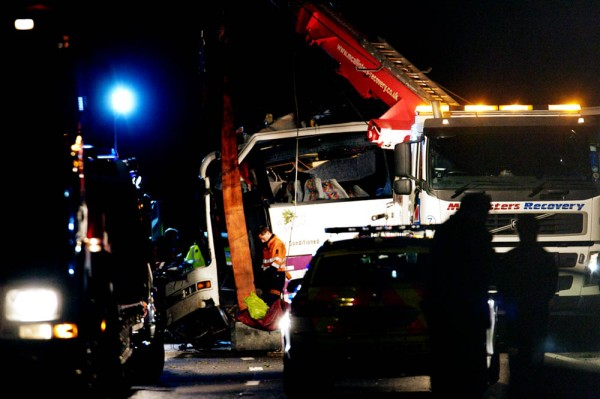 11th September 2012.      Recovery of the Coach involved in a fatal accident on the A3 south of Guildford, taking festival goers back to Merseyside