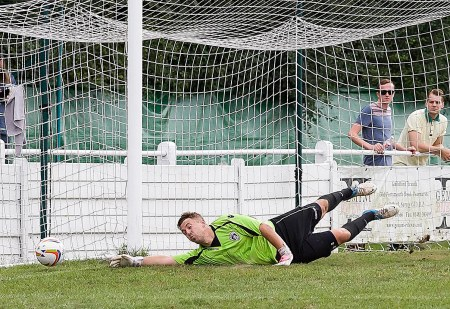 From PressPhotos-Uk.com 26/08/2013 Aaron Bufton saves for City at Godalming Town FC v GCFC at Wey Court