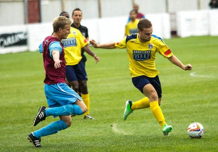 17/08/2013  City's George BOWERMAN shoots @ Mangotsfield United vs Guildford City FC. Pictures Paul Burgman