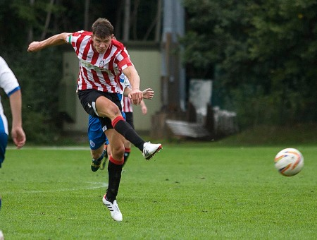 From Paul Burgman@PressPhotos-uk.com 5/10/13 Pat COX scores Guildford City FC v Chertsey Town FC in the FA Trophy @ Guildford Spectrum. Pic: Paul Burgman