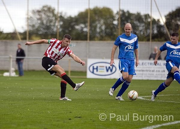 27/10/2013.  Stratford Town v GCFC.  City's Captain PAT COX shoots [Pic Paul Burgman]
