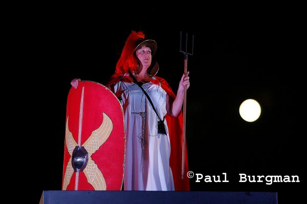 8 July 2009. Helen Barker a Medical Secretary from Chester.  On the Fourth Plinth dressed as Britannia. 0100-0200hrs