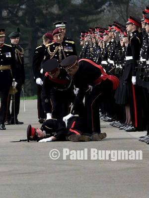 From PressPhotos-UK.com 12/04/2003. Cadet at RMA Sandhurst, passes out in front of Brigadier General Sir Michael Jackson Copyright Paul Burgman