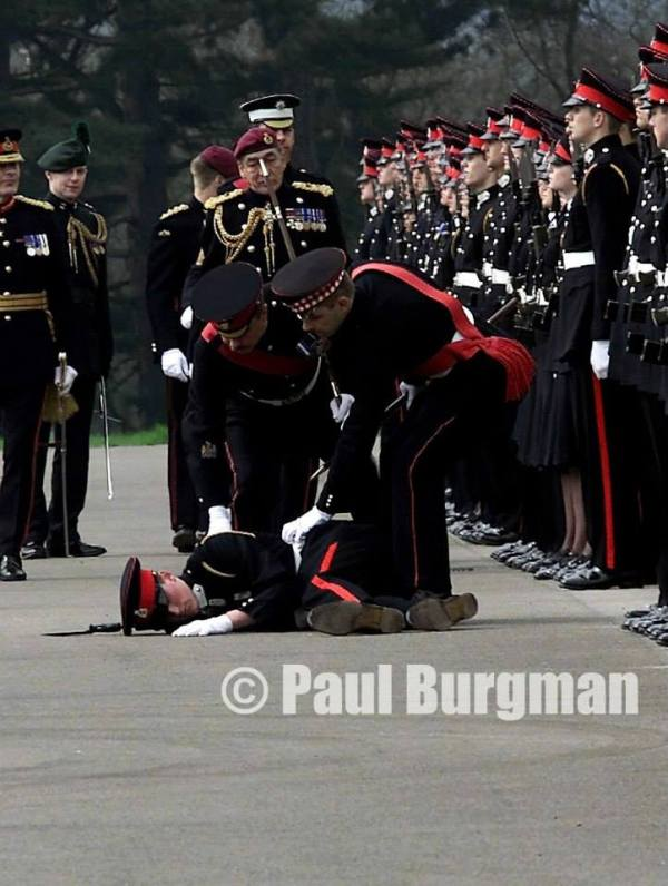 From PressPhotos-UK.com 12/04/2003. Cadet at RMA Sandhurst, passes out in front of Brigadier General Sir Michael Jackson Copyright Paul Burgman
