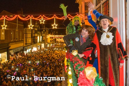 21/11/2013   Turning on of the Guildford Christmas Lights. Bonny Langford turns on the lighths, with  Guildford Mayor Councillor Diana Lockyer-Nibbs, Kit Heskith Harvey (the Ugly Sister) & Jamie Brooks (Buttons).