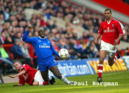 02/03/02.  Action From Charlton Versus Chelsea At The Valley.  Jimmy Flloyd Hasselbaink is fouled