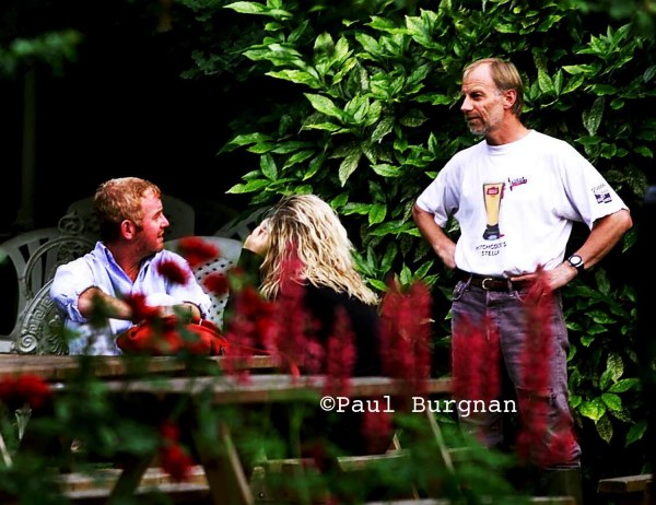 29/06/01 (PIC PAUL BURGMAN) Chris Evans with Billie chat with the James Ward, the landlord  of the White Horse in Hascombe village who later died in a boating accident