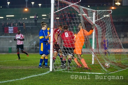27/11/2013 City v Didcot Town FC.  City ran out 2-1 losers after a spirited and physical match. Jamie Thoroughgood scores.