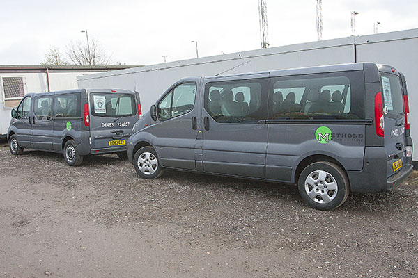 The Guildford City FC Minibus Fleet, courtesy of Methold Vehicle Hire