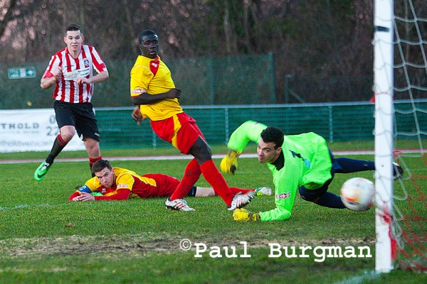 11/01/2014  Guildford City's Sam Spencer scores his second of the match
