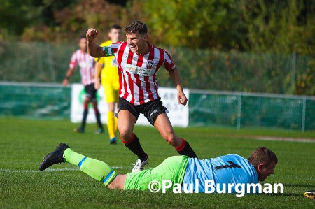 From Paul Burgman@PressPhotos-uk.com   12/10/13 Guildford City v Merthyr Town @The Spectrum Pat COX opens Guildford City's account against Methyr. Pic: Paul Burgman