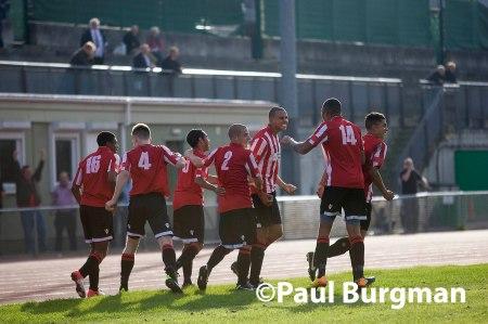 From Paul Burgman@PressPhotos-uk.com   28/09/13  Guildford City FC v Taunton Town FC @ Guildford Spectrum. City's Ryan BERNARD celebrates the winning Goal Pic: Paul Burgman