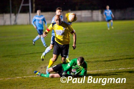 17/03/2014 Fleet Town v GCFC. City's LANCE BANTON-BROWN  fouled by the keeper.  Penalty awarded, Keeper received Red Card