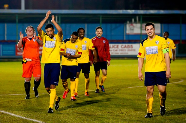 25/03/2014 Taunton Town v GCFC. Guildford city do the double over Taunton town. City celebrate winning the match [Pic Paul Burgman]
