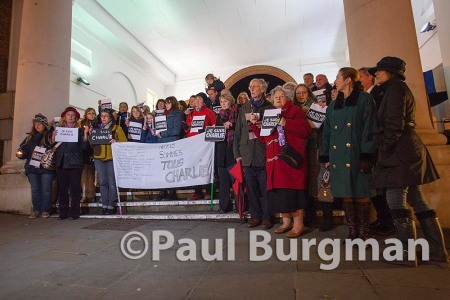 08/01/2015 Je Suis Charlie vigil in Guildford on Thursday evening at the Tunsgate, in the High Street. With a banner listing the names of the 12 victims in Paris