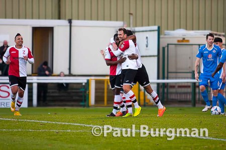 13/12/2014  Woking FC v Eastleigh FC, FA Trophy 1st round. Woking's Josh Payne celebrates