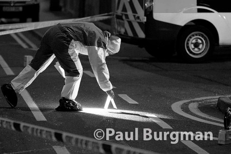 2/02/2015 Police and Forensics on the scene at the Junction of Aldershot Road & Worplesdon Road, GU2 8AF