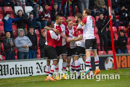 31/01/2015 Woking v Alfreton. Woking's Ross LAFAYETTE celebrates Woking's second