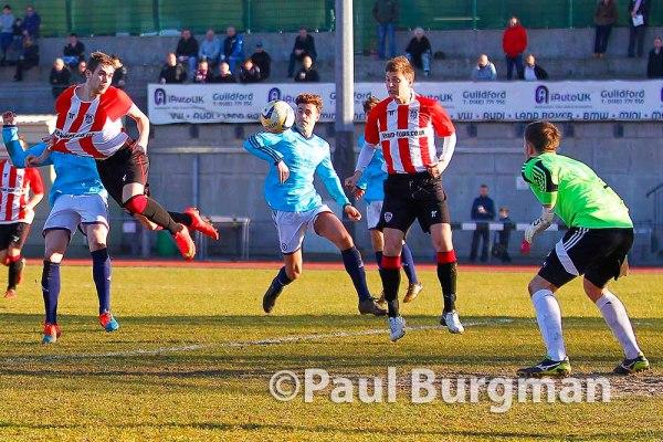 07/03/2015 Guildford City V Ashford Town. City's Anthony BAKER heads on goal