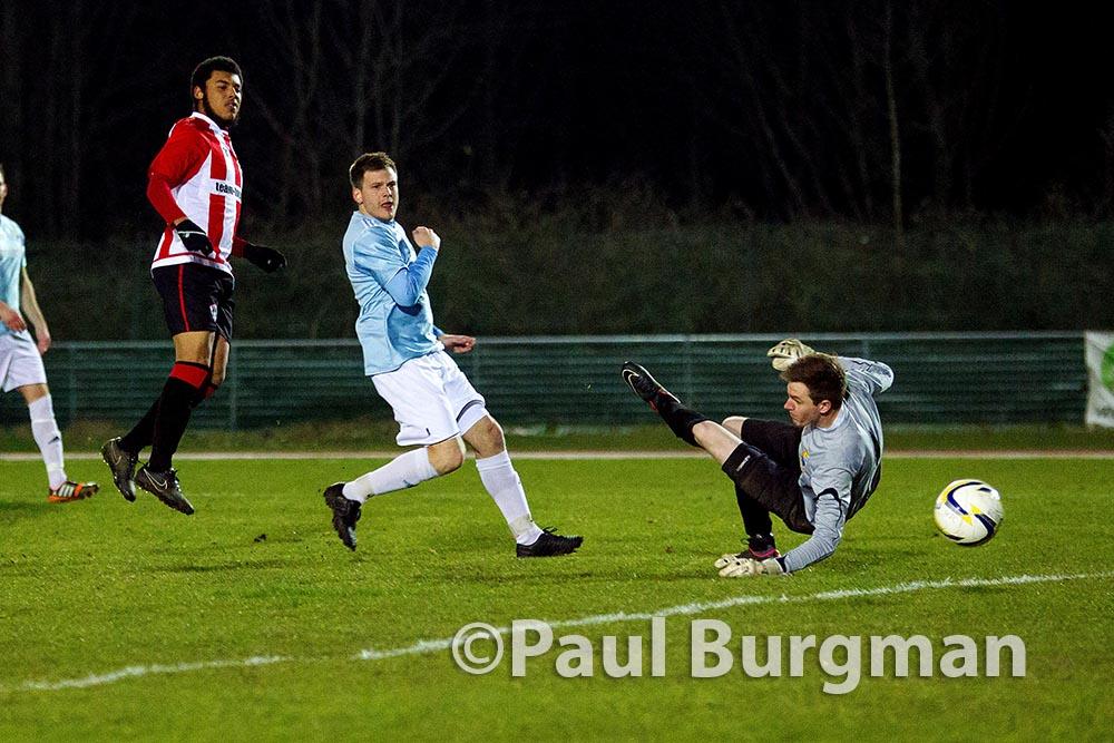 25/03/2015. Dan STEWART scores his first in City's 4-0 win over Farnham Town