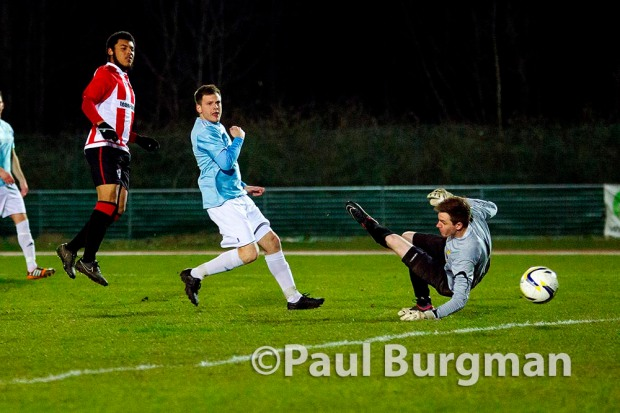 25/03/2015. Dan STEWART scores his first in City's 4-0 win over Farnham Town