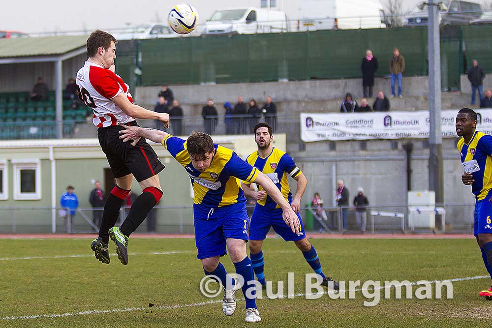 14/03/2015. Guildford City v Hanworth Villa. City's Anthony BAKER's goal is ruled out for pushing.