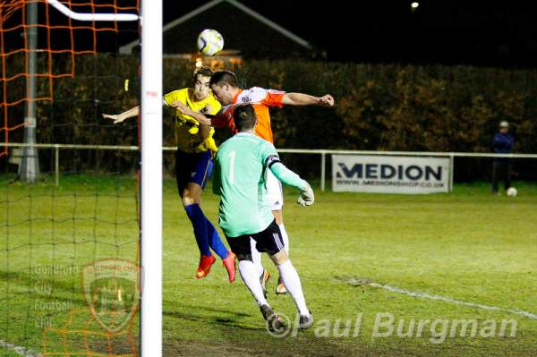 10/03/2015. Guildford City v Hartley Wintney. City's Anthony BAKER scores his Hat Trick