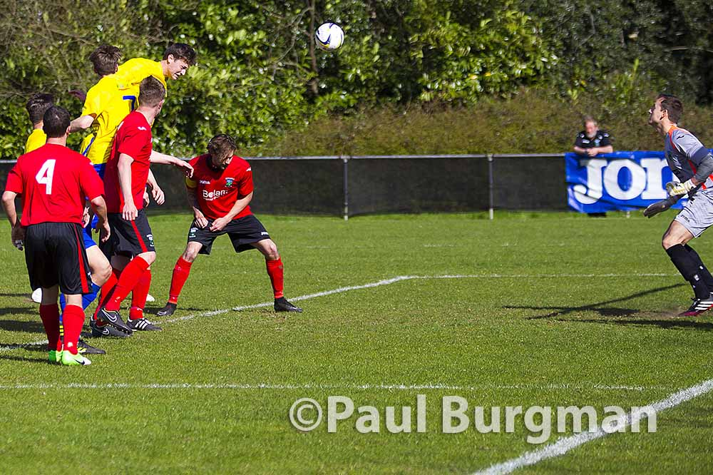 10/04/2015. Knaphill FC v Guildford City. City's Tadej VENTA scores from corner
