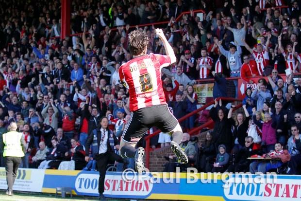 18/04/2015. Brentford v Bolton Wanderers. Brentford Midfielder Jonathon DOUGLAS celebrates Brentford's 2nd goal