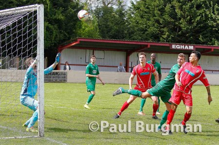 25/04/2015.   Egham Town v Bedworth United.   Brendan MATHEW's header hits the crossbar