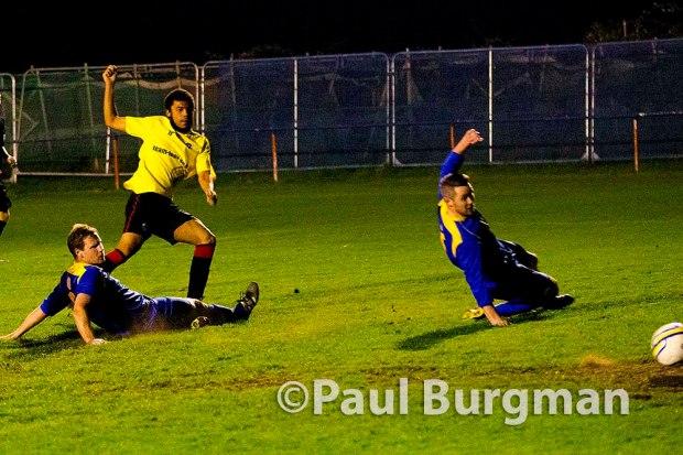 09/04/2015. Raynes Park Vale v Guildford City. City's Dan Stewart scores