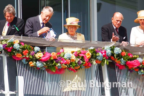 06/06/2015. Epsom Races. HM the Queen watches the racing