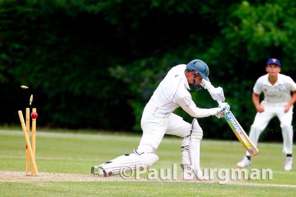 13/06/2015.  Leatherhead CC v Sunbury CC. Leatherhead Cricket Club's Matt LAIDMEN clean bowled