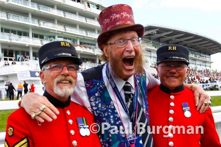 06/06/2015. Epsom Races. John McCririck with Chelsea pensioners