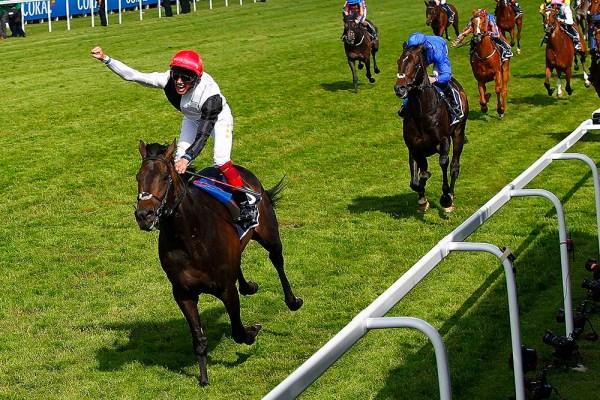 06/06/2015. Epsom Races. Frankie Detorri wins the Derby on GOLDEN HORN