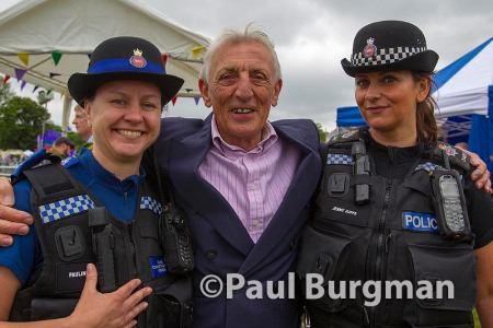 13/06/2015. Ashtead Village Day. Eric Richard with local PCSO Pauline Daly & PC Jenny Juffs, based in Ashtead