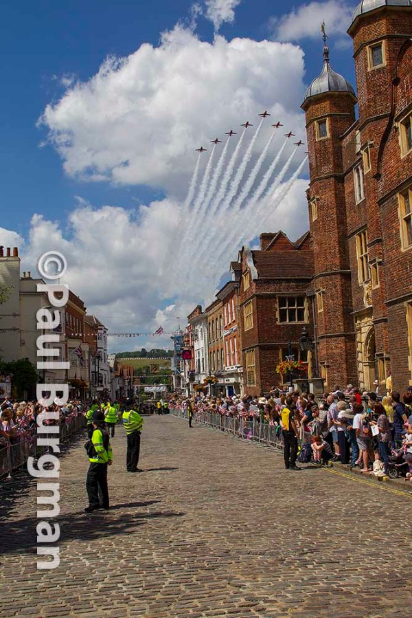 27/06/2015. British Armed Forces Day in Guildford. Red Arrows flypast