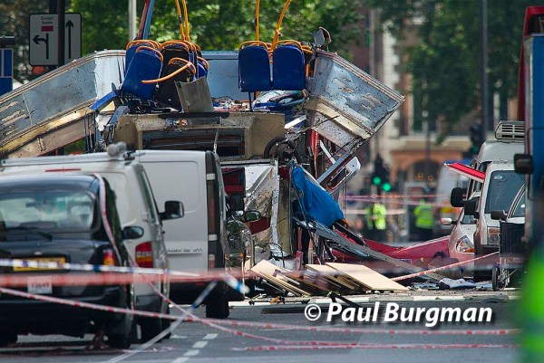 07/07/2015. London Terrorist attack. Tavistock Square London. Remains of  Stagecoach London Bus destroyed travelling its route from Marble Arch to Hackney Wick.