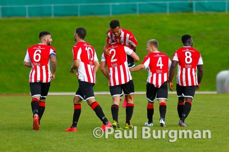 12/09/2015.  Guildford City 5 - 2 Redhill FC. City's Nathaniel WILLIAMS celebrates hatrick