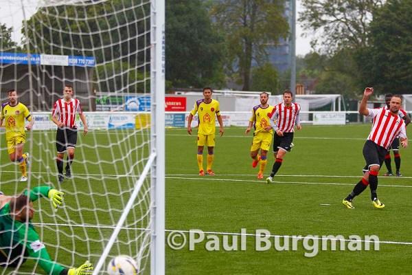 31/08/2015.  Sutton Common Rovers v GCFC. City won 2-3. Matt York scores from the spot