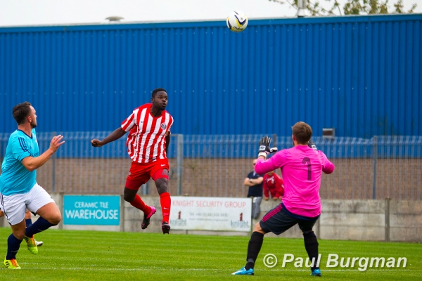 03/10/2015.  Camberley v Ashford. Camberley's Marcus COUSINS scores on 12 minutes