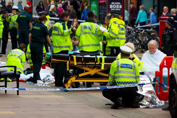 23/10/2015. Scene of crash outside the Friary Centre. A car & several pedestrians injured
