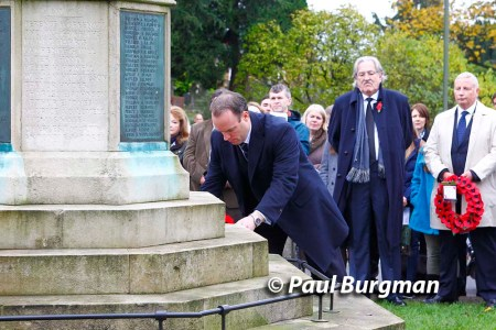 08/11/2015.  Esher Remembrance Day. Dominic RAAB MP lays a wreath