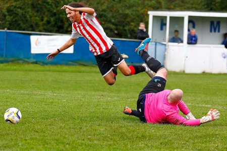 24/10/2015.  Chessington & Hook FC v Guildford City FC. City Won 3-9. City's Nathan Chambers scores