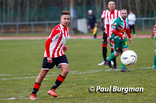 27/02/2016 Guildford City Fc v Windsor. Sanchez BENALI scores from the spot