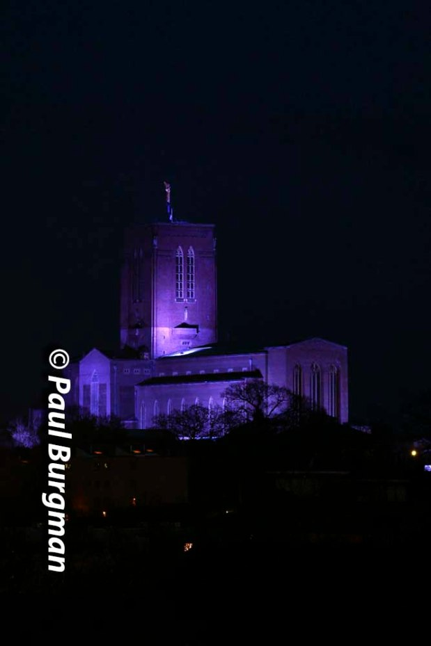 31/03/2016.Guildford Cathedral in Blue for World Autism Awareness Day.