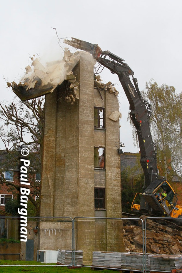 15/04/2016. Guildford. Old Fire Station training tower is demolished.