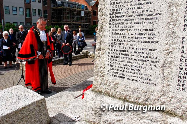 2/07/2016. Somme Remembrance at Camberley War Memorial. Cllr John Winterton