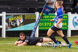 03/09/2016. Esher RFC Club v Macclesfield RFC. Charlie Gossington scores Esher's 2nd Try